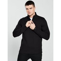 Selected Homme Selected Homme High Neck Rob Zip Neck Sweat, Black, Size Xl, Men
