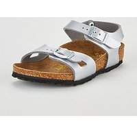 Birkenstock Girls Rio Sandals, Silver, Size 10 Younger