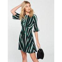 V by Very Stripe Tie Front Dress - Printed, Stripe, Size 12, Women