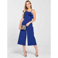 V by Very Petite Ruffle One Shoulder Culotte Jumpsuit - Blue, Blue, Size 8, Women