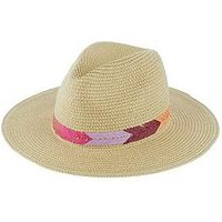 Accessorize Raffia Embroidered Chevron Fedora - Natural, Natural, Size M-L, Women