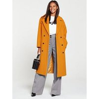 V by Very Oversized Double Breasted Coat - Mustard , Mustard, Size 8, Women