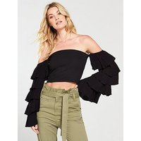 V by Very Cropped Bardot Frill Sleeve Top - Black, Black, Size 18, Women