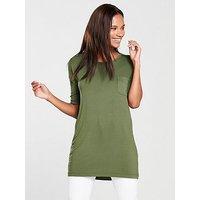 V by Very Pocket Three-quarter Sleeve Tunic - Khaki, Khaki, Size 10, Women