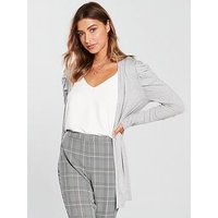 V by Very Puff Shoulder Button Sleeve Cardigan - Grey Marl, Grey Marl, Size 10, Women