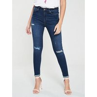 V by Very Ella High Waisted Skinny Jean - Dark Wash, Dark Wash, Size 12, Women
