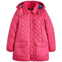 Joules Girls Newdale Hooded Quilted Jacket, Fuchsia, Size 7-8 Years, Women