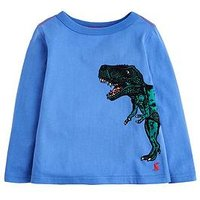 Joules Boys Finlay Dinosaur Print T-shirt, Blue, Size 4 Years