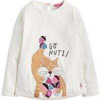 Joules Toddler Girls Ava Squirrel Applique T-shirt, Cream, Size Age: 1 Year, Women