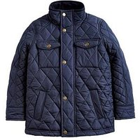 Joules Boys Stafford Quilted Jacket, Navy, Size Age: 7-8 Years