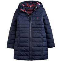Joules Girls Longline Kinnard Packaway Coat, Navy, Size 4 Years, Women