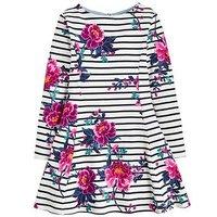 Joules Girls Erin Jersey Skater Dress, Navy Stripe, Size 9-10 Years, Women