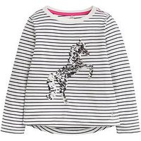 Joules Girls Unicorn Sequin Long Sleeve T-shirt, Navy, Size Age: 3 Years, Women