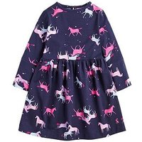 Joules Toddler Girls Alina Ranelled Jersey Dress, Navy, Size 6 Years, Women