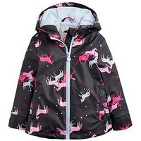 Joules Girls Hooded Raindance Waterproof Rubber Coat - Navy, Navy, Size 1 Year, Women