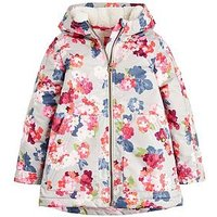 Joules Girls Raindrop Waterproof Printed Coat, Grey, Size 6 Years, Women