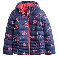 Joules Girls Kinnaird Print Packaway Coat, Navy, Size 11-12 Years, Women