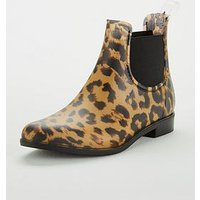 Joules Girls PVC Chelsea Boots - Leopard Print, Leopard, Size 8 Younger
