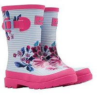 Joules Girls Floral Wellies - Stripe/Floral Print, Sky Blue, Size 3 Older