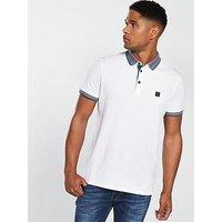 BOSS Contrast Collar Polo Shirt, White, Size 2Xl, Men