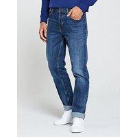 BOSS Relaxed Fit Jean, Mid Wash, Size 38, Inside Leg Regular, Men