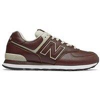 New Balance 574 Leather, Brown/Cream, Size 8, Men