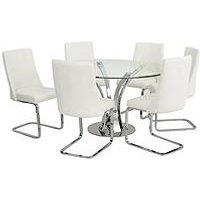 Alice 130 Cm Round Dining Table + 6 Chairs