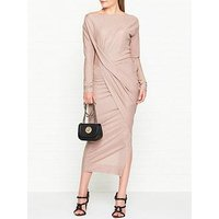 Vivienne Westwood Anglomania Vian Glitter Jersey Drape Long Sleeve Dress - Light Pink