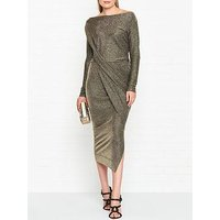 Vivienne Westwood Anglomania Vian Glitter Jersey Drape Long Sleeve Dress - Gold