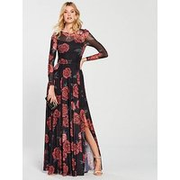 V By Very Printed Mesh Maxi Dress - Floral Print