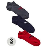 Emporio Armani 3pk Trainer Liner, Navy/Red/Grey, Size L, Men