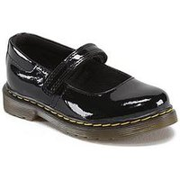 Dr Martens Tully Patent Infants Shoe, Black, Size 4 Younger