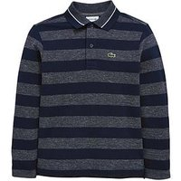 Lacoste Boys Long Sleeve Stripe Pique Polo, Blue Multi, Size 16 Years