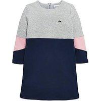 Lacoste Girls Colourblock Sweat Dress, Navy Multi, Size 6 Years, Women