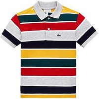Lacoste Boys Short Sleeve Stripe Pique Polo, Grey Multi, Size 14 Years