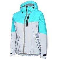 MADISON Stellar Reflective Womens Waterproof Cycle Jacket - Silver/Aqua Blue, One Colour, Size 10, Women