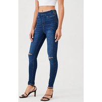 V by Very Charley Ripped Jegging - Mid Wash, Dark Wash, Size 20, Women