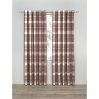 Highland Check Faux Wool Eyelet Curtains