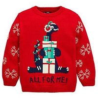 Boys, Mini V by Very Dinosaur All For Me Knitted Christmas Jumper, Red, Size Age: 6-9 Months