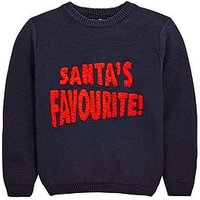 Boys, Mini V by Very Santa's Favourite Knitted Christmas Jumper, Navy, Size Age: 3-4 Years