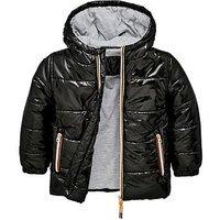Boys, Mini V by Very Padded Coat - Black, Black, Size Age: 18-24 Months