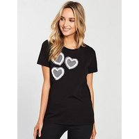 V by Very Heart Pearl Placement Tshirt, Black, Size 12, Women