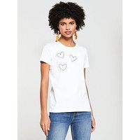 V by Very Heart Pearl Placement Tshirt, White, Size 8, Women
