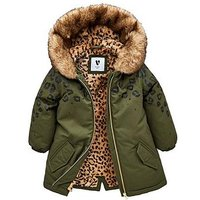 Mini V by Very Girls Animal Faux Fur Lined Parka, Khaki, Size Age: 3-4 Years, Women