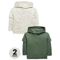 Mini V by Very Boys Pack of 2 Lightweight Layered Detail Overhead Hoodies - Grey/Khaki, Grey/Khaki, Size Age: 18-24 Months