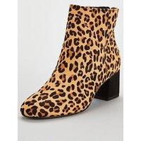 Dune London Olyvea Block Heel Ankle Boot - Leopard , Leopard, Size 6, Women