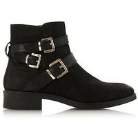 Dune London Pheonixx Three Buckle Ankle Boot - Black , Black Nubuck, Size 5, Women