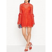 Alice Mccall Back To You Lace Fluted Sleeve Dress - Orange