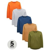 V by Very Boys 5 Pack Long Sleeved T-Shirts - Multi, Multi, Size 11 Years