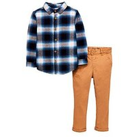 Boys, Mini V by Very Checked Long Sleeve Shirt and Slim Fit Chino, Multi, Size Age: 4-5 Years